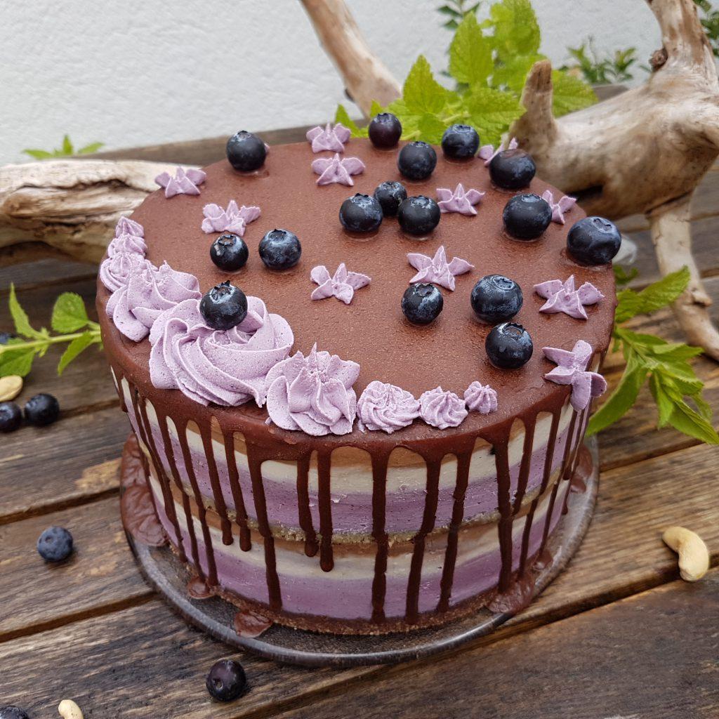 Rohkost-Blaubeer-Schokoladentorte